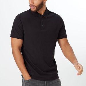Vince black classic slub cotton polo shirt size medium men's